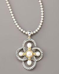 Lagos Luna Pearl Quatrefoil Pendant Necklace - Lyst