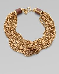Michael Kors Goldtone Multi-row Chain Necklace - Lyst