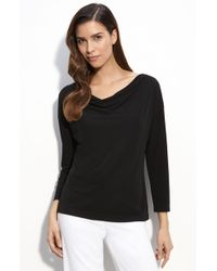 St. John Evening Cowl Neck Matte Jersey Top - Lyst