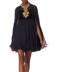 Alexander McQueen Embellished Cape Dress - Lyst