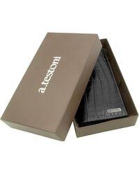 A.Testoni   Black Crocodile Coat Wallet   Lyst