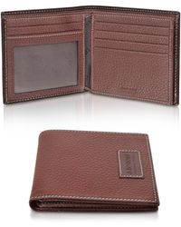 A.Testoni - Brown Grained Calf Leather Billfold Wallet - Lyst