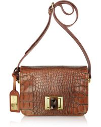 Badgley Mischka - Charlene Croco - Leather Shoulder Bag - Lyst