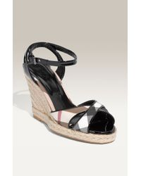 Burberry | Check Patent Leather Wedge Espadrille | Lyst