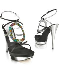 Casadei Satin and Multicolor Crystal Platform Sandal - Lyst