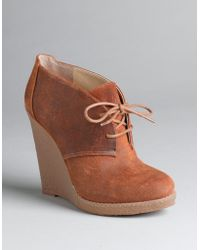 Enzo Angiolini Suede Lace-up Platform Wedge Boots - Lyst