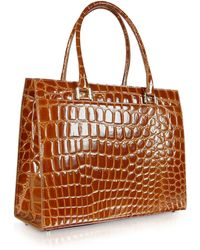 Giorgio Fedon Spiga Wib - Brown Croco Stamped Calfskin Business Bag