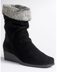 La Canadienne Fancy Faux-Fur Cuff Suede Wedge Boots - Lyst