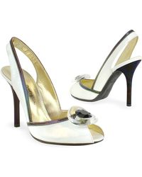 b513dc45e2 Mario Bologna - Opalescent White Patent Leather Sandal Shoes - Lyst