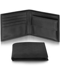 Moreschi - Mens Black Logo Stamped Leather Billfold Wallet - Lyst