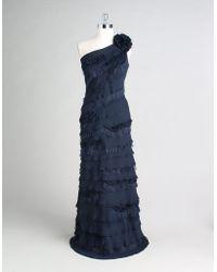 Tadashi Shoji One-shoulder Shutter Pleat Dress - Lyst