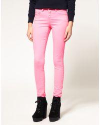 ASOS - Asos Skinny Jeans in Neon Pink - Lyst