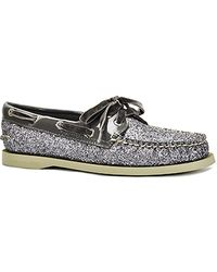 Sperry Top-Sider Authentic Original - Charcoal Glitter and Patent Lace-up Boat Shoe - Lyst