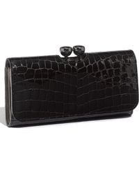 Ted Baker Bobble Croc Embossed Patent Leather Matinee Wallet - Lyst