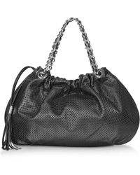FORZIERI - Black Perforated Leather Hobo - Lyst