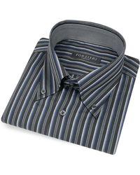 FORZIERI - Black Striped Button Down Cotton Italian Dress Shirt - Lyst