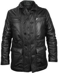 FORZIERI - Mens Black Leather Car Coat - Lyst