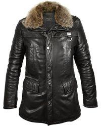 FORZIERI - Mens Black Leather Car Coat W/fur Detachable Collar - Lyst