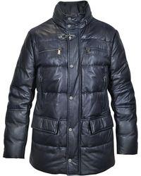 FORZIERI - Dark Blue Leather Puffer Coat - Lyst