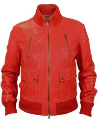 Isabel Marant Bloomen Leather Bomber Jacket In Red Lyst