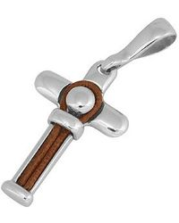 FORZIERI - Difulco Line Sterling Silver and Beige Leather Cross Pendant - Lyst