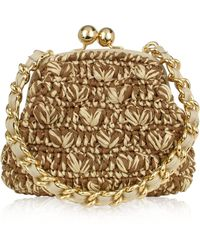 Forzieri Woven Straw & Leather Clutch Bag W/Chain Strap - Lyst