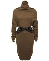 Lanvin Draped Turtleneck Dress - Lyst