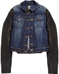 Burberry Brit - Leather Sleeve Denim Jacket - Lyst