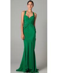 Zac Posen Halter Gown green - Lyst