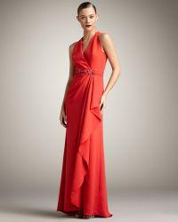 Badgley Mischka Bead-waist Halter Gown - Lyst