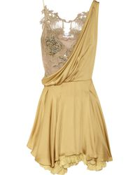 Julien Macdonald Silk-satin and Lace Dress gold - Lyst