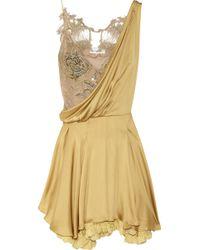 Julien Macdonald Silk-satin and Lace Dress - Lyst