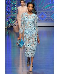 Dolce & Gabbana Spring 2012 Blue Floral Crochet Dress with Bloomers - Lyst