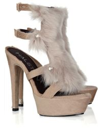 Halston Calf Hair and Shearling Sandals - Lyst