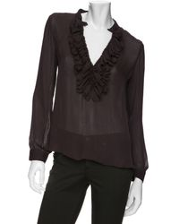 L'Agence Long Sleeved Ruffled Blouse - Lyst
