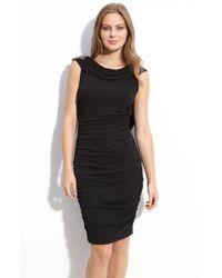 Eliza J Beaded Low Back Cowl Neck Dress - Lyst