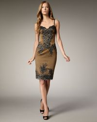 Julian Joyce By Mandalay - Beaded Lace & Satin Dress - Lyst