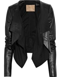 Max Azria Cotton-paneled Leather Jacket - Lyst