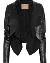 Max Azria Cotton-paneled Leather Jacket black - Lyst