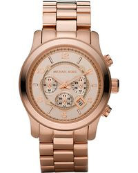 Michael Kors Rose Golden Oversized Chronograph Watch pink - Lyst