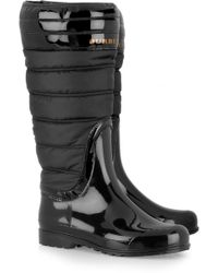 Burberry Quilted Patent-rubber Wellington Boots - Lyst