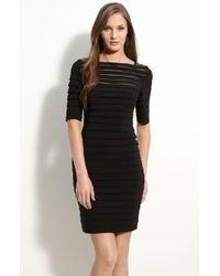 Adrianna Papell Pleated Illusion Sheath Dress black - Lyst