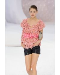 Chanel Spring 2012 Black Leather Mini Shorts - Lyst