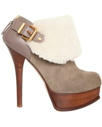Fendi 150mm Suede and Shearling Low Boots - Lyst
