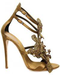 Giuseppe Zanotti 115mm Silk and Swarovski Sandals - Lyst