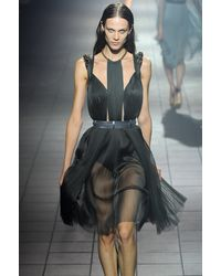 Lanvin Spring 2012 Black Sheer Cut Out Sleeveless Dress With Embellished Details - Lyst