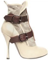 Vivienne Westwood 130mm Suede and Calf Buckle Low Boots - Lyst