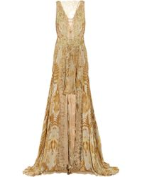 Julien Macdonald Jacobite Lace and Printed Silk-chiffon Gown multicolor - Lyst