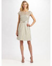 Kay Unger Moiré Metallic Lace Dress - Lyst