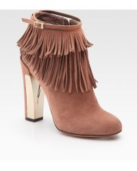 B Brian Atwood Pembra Suede Fringe Ankle Boots - Lyst